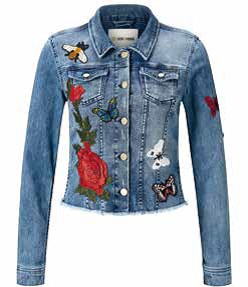 Rich and Royal Denim Jacket with Flower Embroidery
